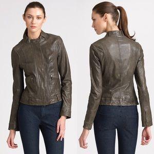 Vince Biker Genuine Leather Jacket Key Grey XS
